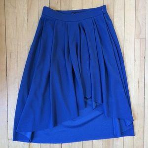 Zara Basic Dark Blue High Low Pleated Midi Skirt